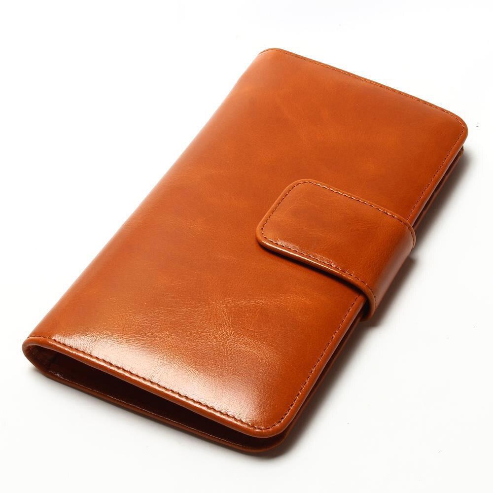 Leaher Spencers 女性マルチカードオイルワックス革財布ロング本物の