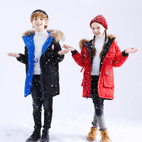 Canada winter girls down coat Boys fashion waterproof down jacket blue natural fur collar kids snowsuits Wear on both sides Red