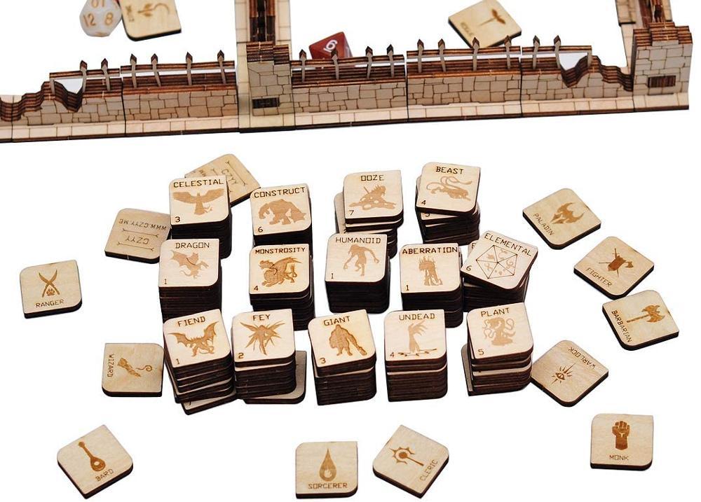 Настольная игра CZYY D & D Tokens, деревянная Лазерная вырезка, Фэнтезийный ролевой герой и монстр-маркер, набор из 110 штук, идеально подходит для по...