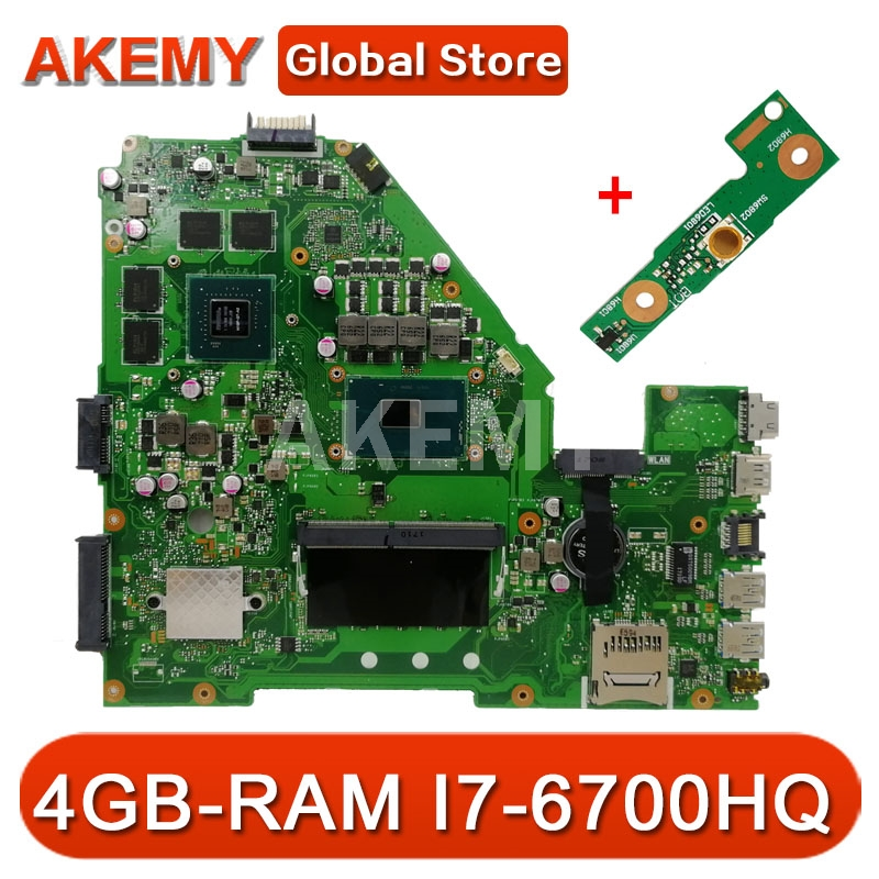 X550vx Laptop Motherboard For Asus X550vx X550v Original Mainboard 4gb Ram I7 6700hq Gtx950m 4gb Hot Price 64ec0 Cicig