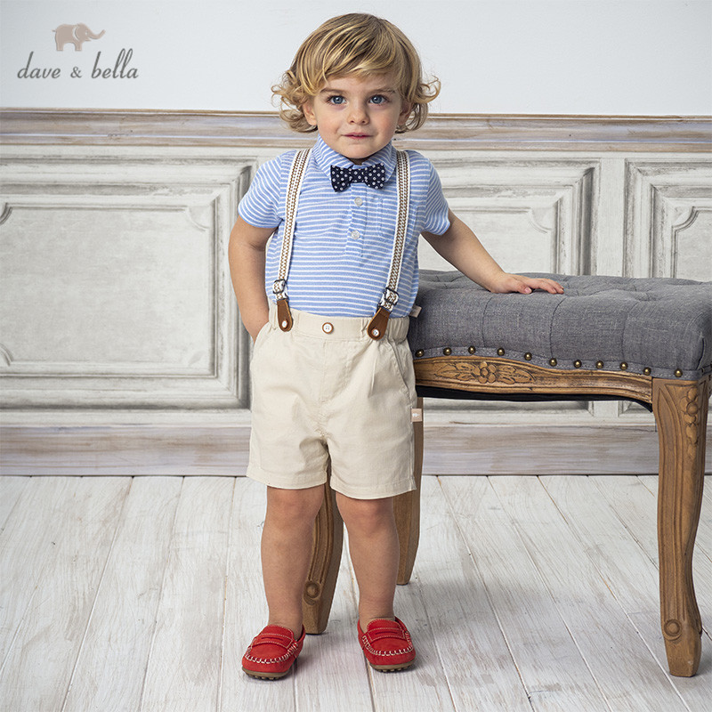 DBA12451 Dave Bella Summer Baby Boys Fashion Clothing Sets Handsome Short Sleeve Striped Suits Children Clothes