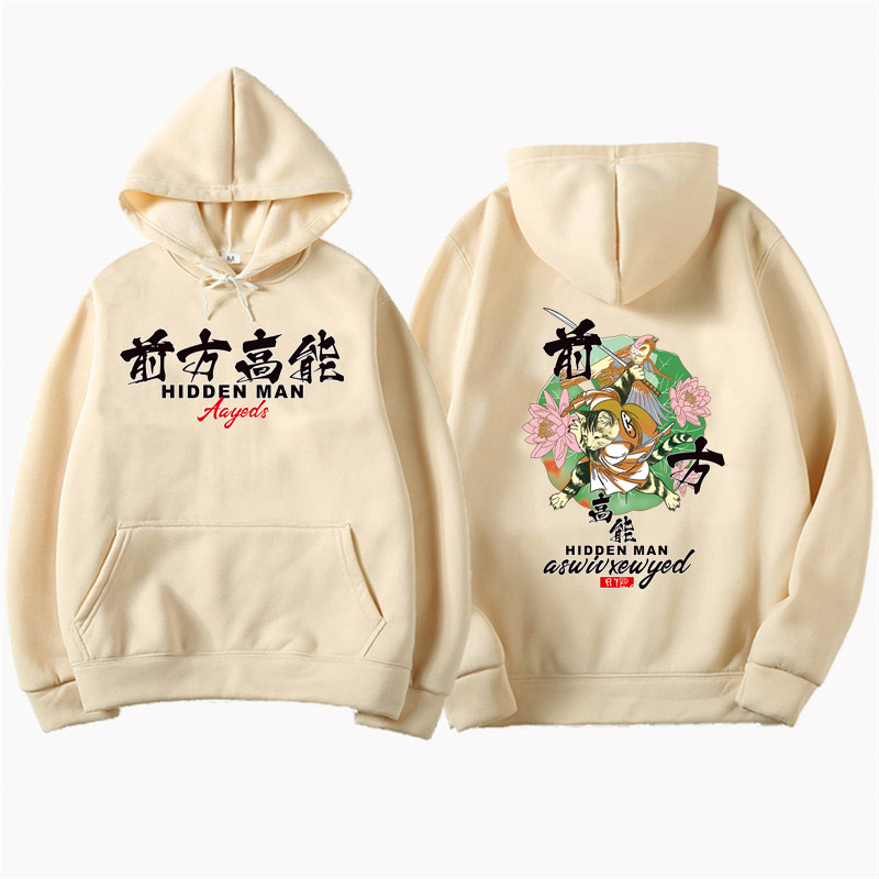 Men Black Autumn Cotton Hip Hop Hoodie Sweatshirt Samurai Cat Printed 2019 Streetwear Harajuku Kanji Pullover Hoodies
