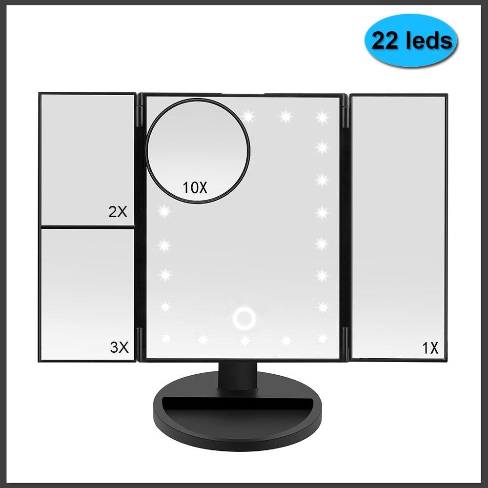 22 Light Makeup Mirror Table Desktop Makeup LED Touch Screen 1X/2X/3X/10X Magnifying Mirrors Vanity 3 Folding Adjustable Mirror