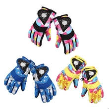 Waterproof Winter Skiing Snowboarding Gloves Warm Mittens For Kids Full-Finger Gloves Strap for Sports Skiing Cycling cheap Polyester Velvet Print Unisex Kids Gloves One Size Pink Yellow Blue Warmer Comfortable Soft Ski Waterproof
