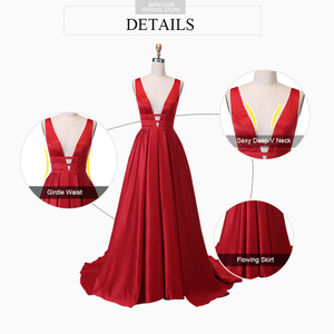 Image 2 - Sexy Red Evening Dresses V Neck Backless Satin Prom Dresses Long Elegant Evening Gown Robe De Soiree Christmas Party Dress Plus