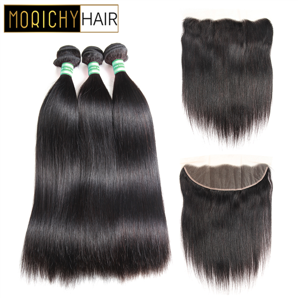 Morichy Hair Straight Bundles With 13X4 Lace Frontal Brazilian Non-Remy Human Hair Weave Bundles Natural Black Color For Women
