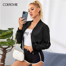COLROVIE Black Zipper Detail Solid Bomber Jacket Women 2020 Autumn Baseball Coll