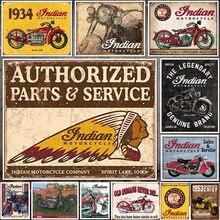 Tradicional indiano motor estanho sinal clássico do vintage motocicleta clube garagem arte decoração da placa de ferro pinturas bar café placas metal