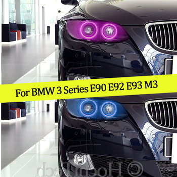 4PCS Multi-color RGB Changeable LED SMD Halo Ring Angel Demon Eyes Day Light For BMW 3 Series E90 E92 E93 M3 2007-2013 Coupe image