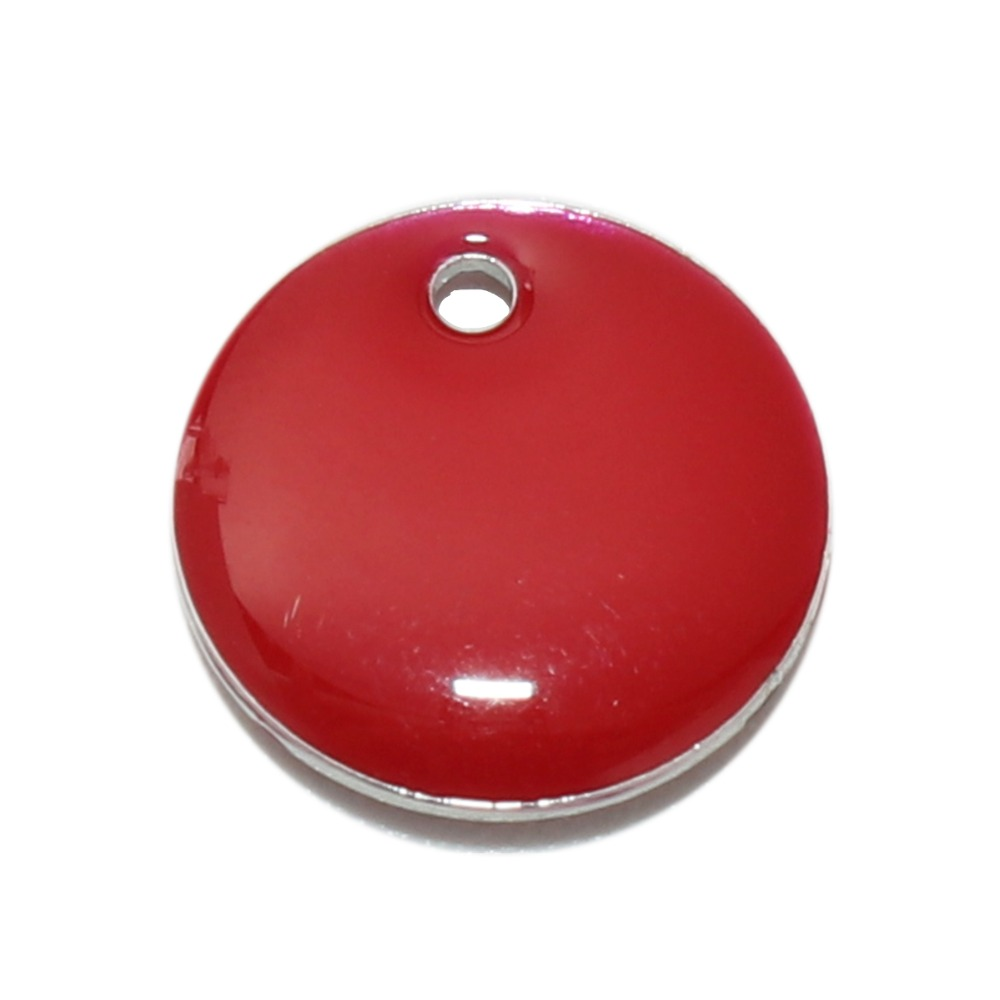 Doreen Box Vintage Copper Enamelled Sequins Pendant Charms Round Silver Color Red Fashion DIY Jewelry Findings 10mm Dia, 10 PCs
