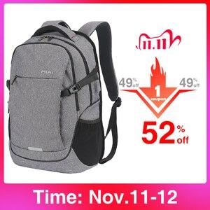 Image 1 - Mixi mochila para laptop, mochila unissex com design de patenteamento, ideal para viagens, escola, à prova d água m5222