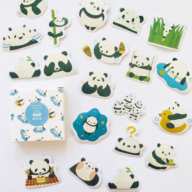 40 Pcs/Box Panda Family Adhesive DIY Sticker Stick Label Notebook Album Decor