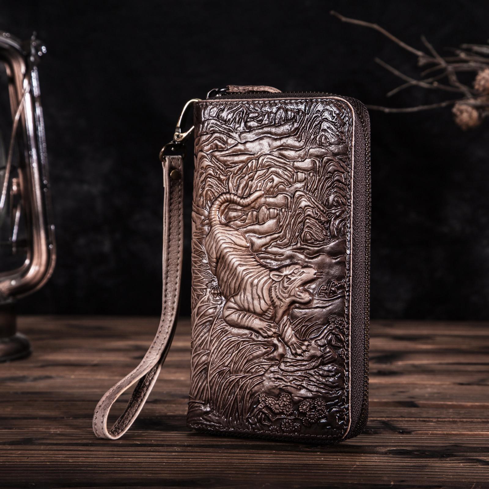 Unisex Genuine Quality Leather Fashion Brand Chain Checkbook Zipper Around Organizer Wallet Purse Design Clutch Handbag 1016ct