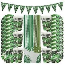 61 sztuk letnie jednorazowe zastawy stołowe zestawy zielone Monstera papierowe talerze i kubki serwetki tropikalne hawaje wesele dekoracje Supplie