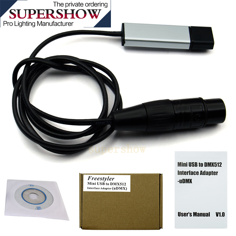 Overlength 180cm USB To DMX Interface Adapter LED DMX512 Support For Windows ,Vista Link To Stage Light/moving Head Light