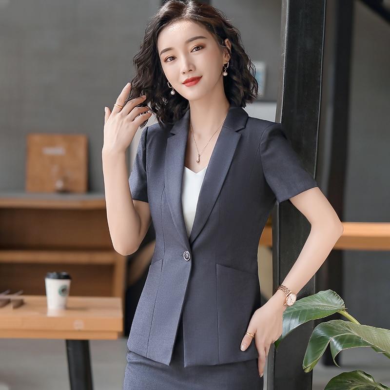 Female Elegant Formal Office Work Wear 2020 Women Black Blazers and Jackets Short Sleeve Black Office Ladies Clothes OL Style