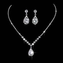 Lujo Angel Teardrop collar pendientes Set novia dama de honor boda joyería conjunto regalos para mujeres
