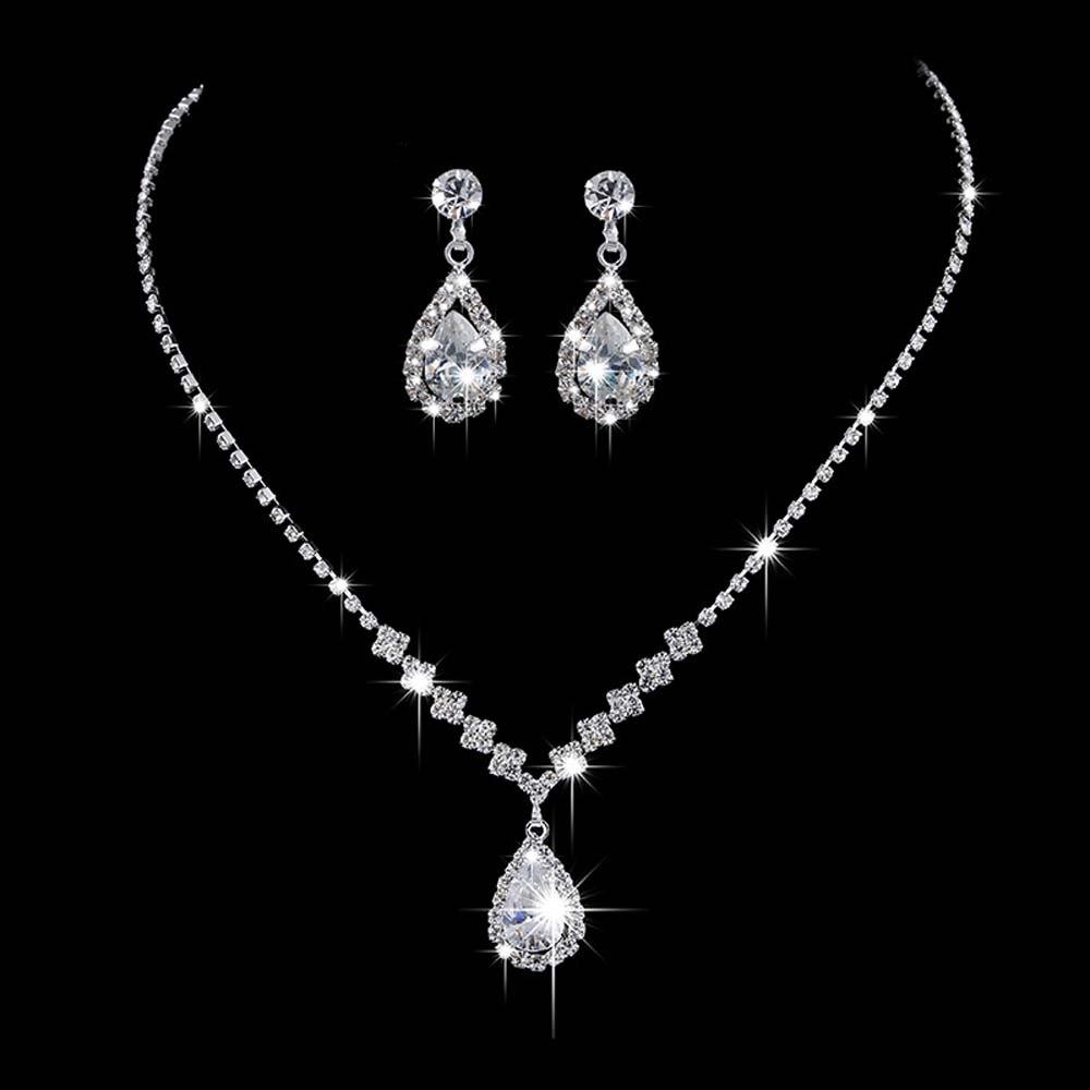 Luxury Angel Teardrop Necklace Earrings Set Bride Bridesmaid Wedding Jewelry Set Gifts For Women