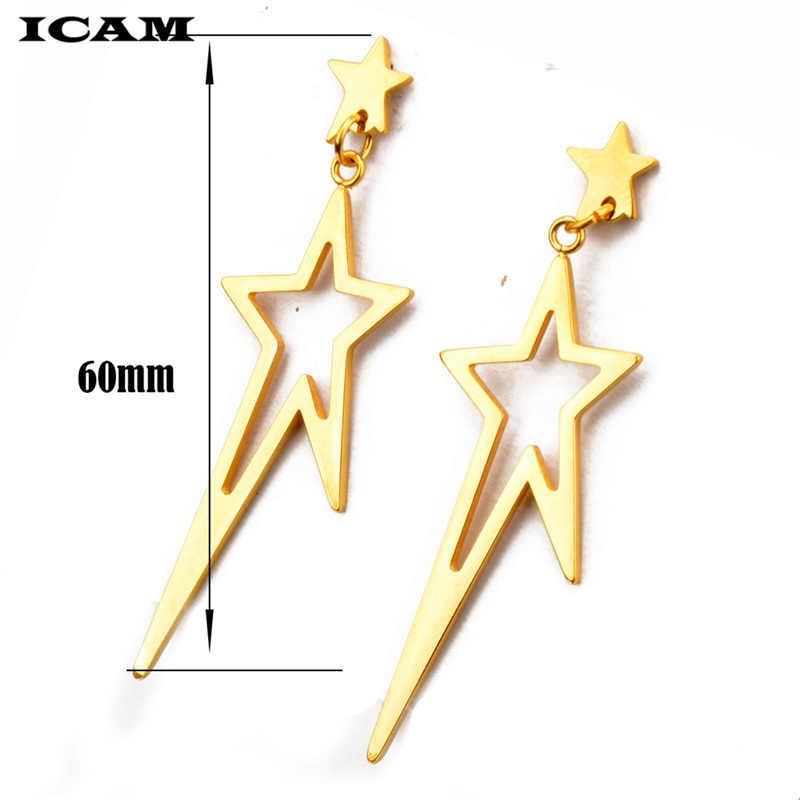 ICAM, корейская мода, геометрические длинные серьги в виде звезды, серьги из нержавеющей стали, серьги-гвоздики, новые большие серьги, Bijoux Brincos