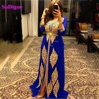 SoDigne blue Caftan karakou algerien Evening Dresses Long Sleeve Prom Dress Satin Gold Lace Muslim Evening Gown 2020