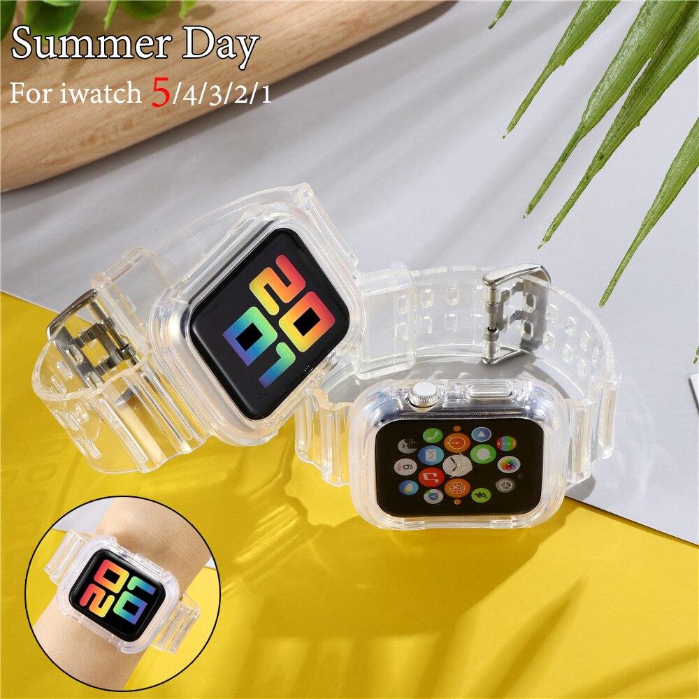 Nueva correa deportiva para Apple Watch SERIE DE gomillas 6 1 2 3 4 5 silicona transparente para Iwatch 5 4 Correa 38mm 40mm 42mm 44mm wirst