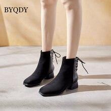 Женские бархатные ботинки на шнуровке byqdy однотонные черные