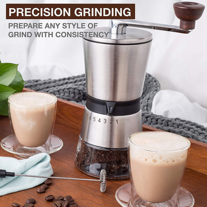 Manual Coffee Grinder Conical Ceramic Burr Portable Hand Crank Mill 304 Stainless Steel