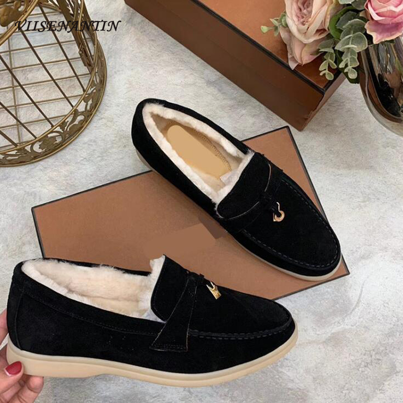 VIISENANTIN Flats Ladies Slip On Wool Shoes Comfort Rubber Sole Driving Shoes Winter Tassel Casual Shoe Lazy Loafers Mujer
