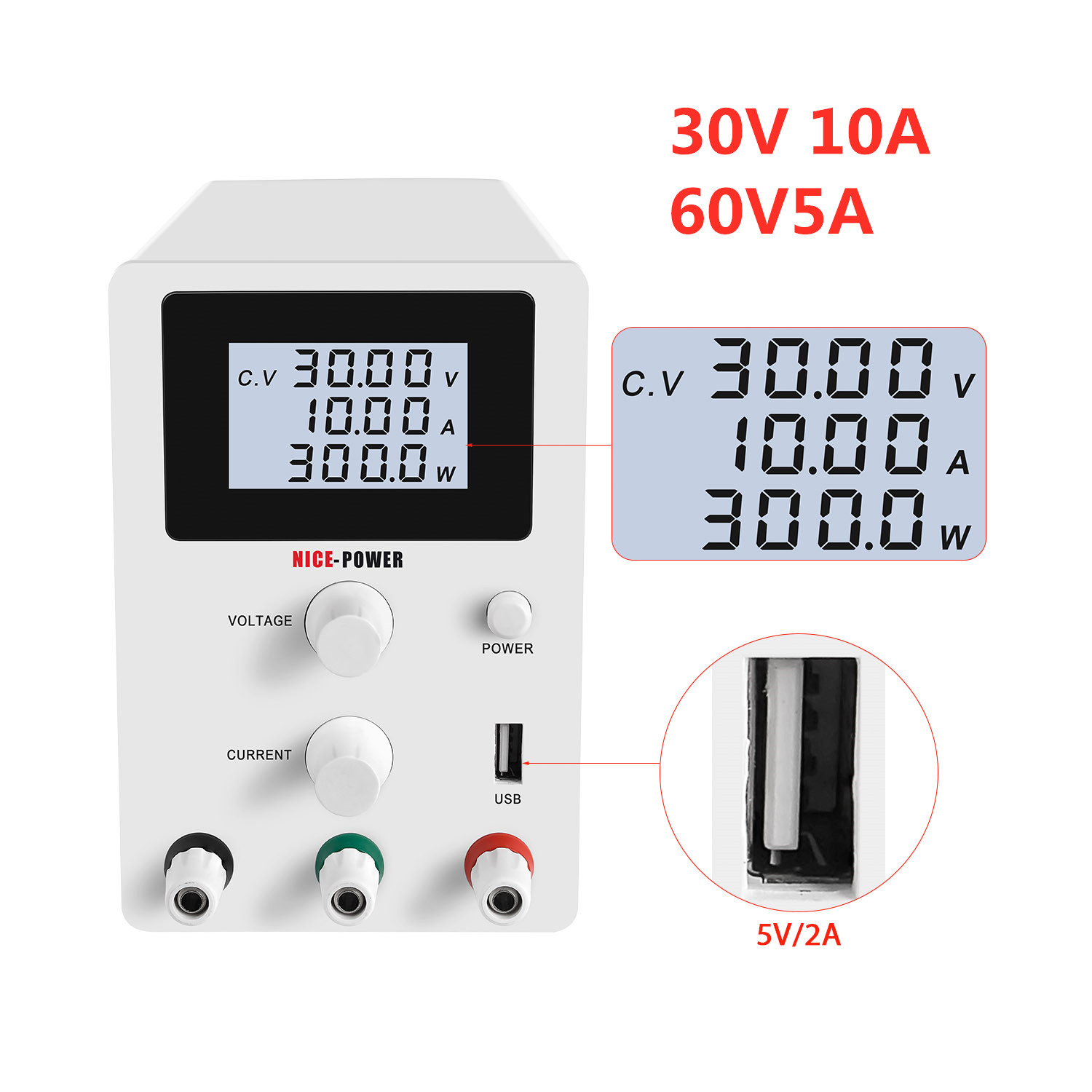 30V 10A Adjustable Digital Display DC Power Supply Switching Power Source High Q