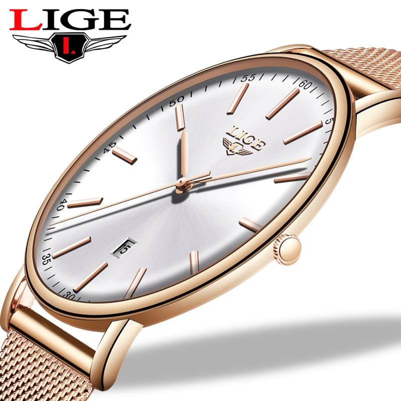 Stainless Steel Ultra-Thin Casual Wristwatch Quartz ClockTop Brand Luxury Waterproof Watch Womens Watches Fashion Ladie