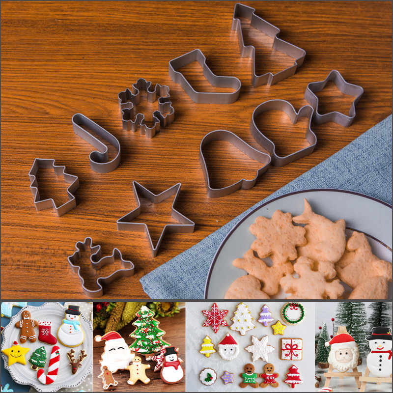 10pcs Aluminium Alloy Christmas Biscuit Cookies Cutter Mold Maker Cake DIY Decorating Stamp Decorating Cookie Tools Cake Mold