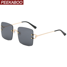Peekaboo gold square sunglasses rimless women gift items for ladies frameless re