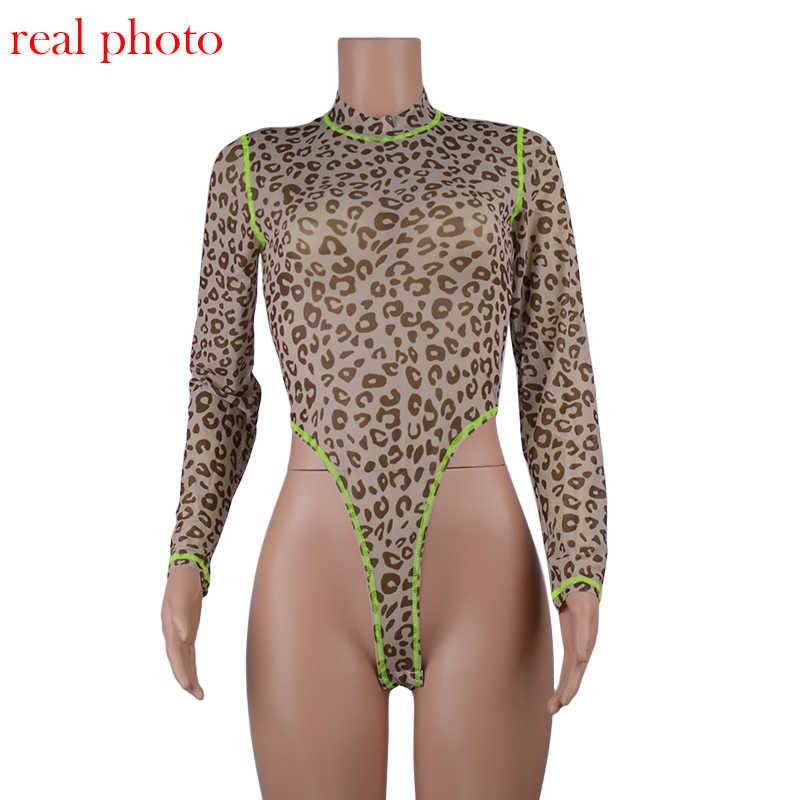 Криптографический неоновый боди с длинным рукавом и леопардовым принтом, ползунки-водолазка, женский комбинезон, осень 2019, женские топы, облегающие модные Клубные боди