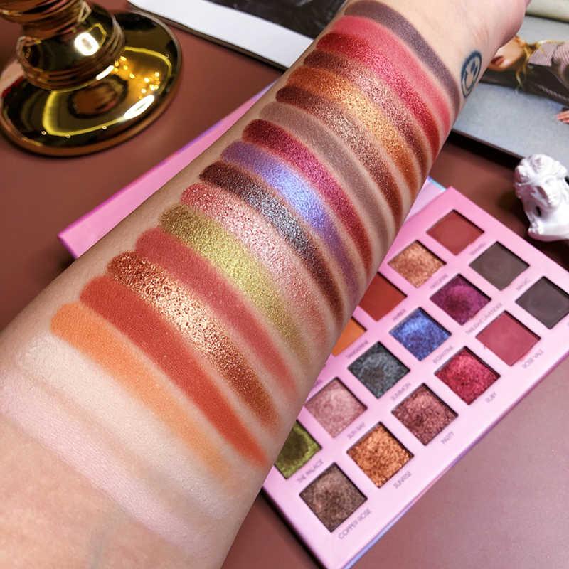 Hudamoji Glitter Matte Eyeshadow Palet Tahan Shimmer Tahan Air Pigmen Eye Shadow Pallete Makeup Maquillaje Kosmetik TSLM1