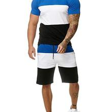 Summer New Hot Sale Men's Short-sleeved Color Matching Stitc