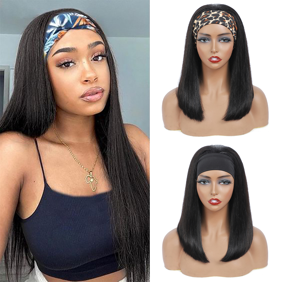 100%  Headband Scarf  Wig Straight Wave  Wig No plucking wigs for Women No Glue No Sew In 1
