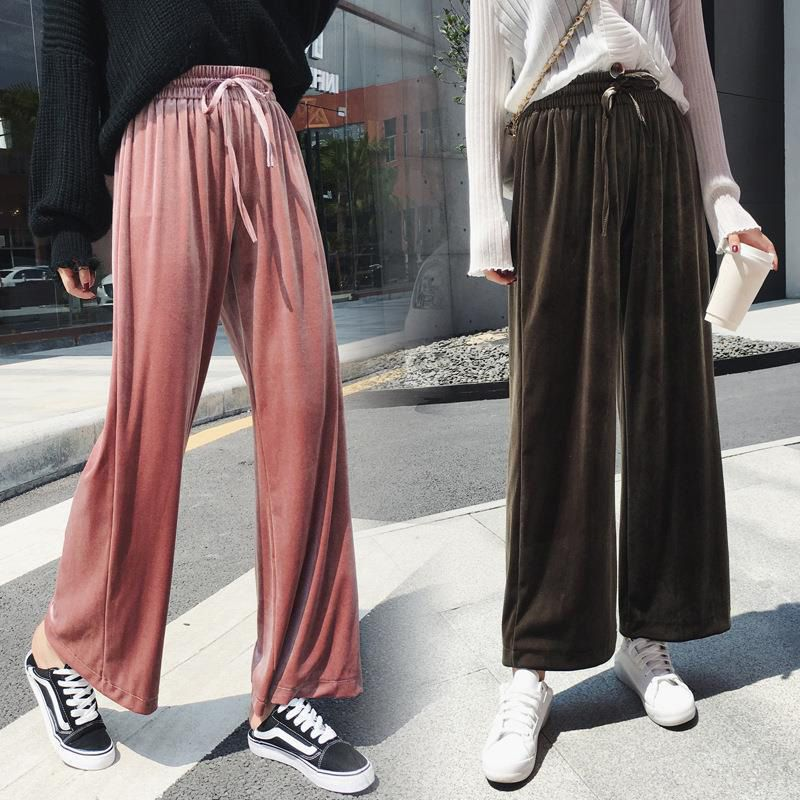 Women Pleuche Pants Autumn Pants Gold Velvet Winter Floor Length Casual Trousers High Waist Loose Wide Leg Pants