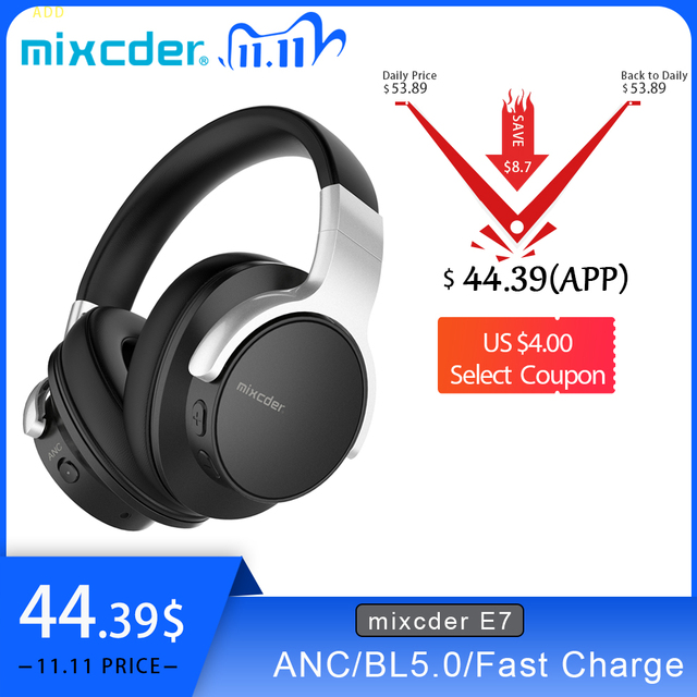 Mixcder E7 سماعة رأس لاسلكية HiFi نشط إلغاء الضوضاء بلوتوث V5.0 سماعة ANC سماعة أذن للهاتف