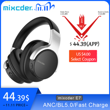 Mixcder E7 Wireless Headphone HiFi Active Noise Cancelling Bluetooth V5.0 Headphone ANC Over Ear Headset for Phone