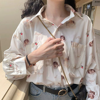 Deeptown Harajuku Angel Print Womens Shirt Vintage Elegant Blouse Women Spring 2020 Lantern Sleeve Female Clothes Loose BF Shirt