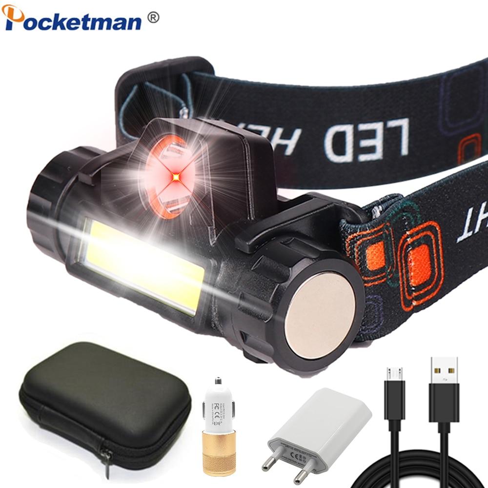 Portable Mini LED Headlights XPE + COB LED Headlights Flashlight Headlights Built-in Battery For Camping