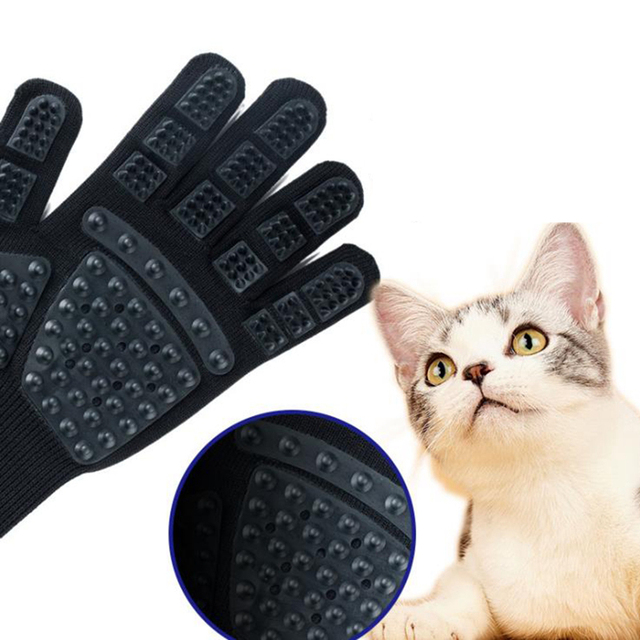 Pet Glove Cat Grooming Glove Cat Hair Deshedding Brush Gloves Dog Comb For Cats Bath Clean Massage Hair Remover brushes Gentle 3