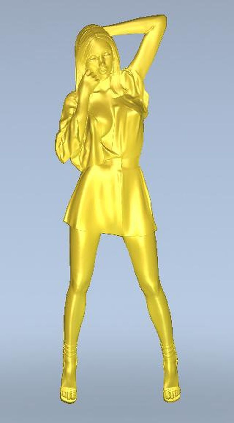 3d model relief  for cnc in STL file format The girl rear