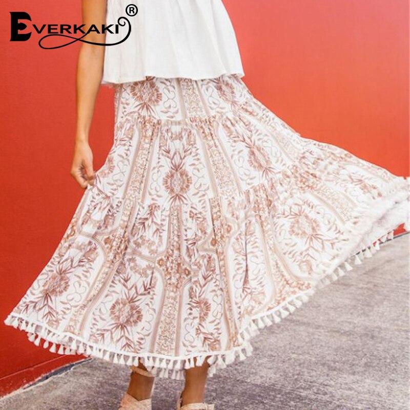Everkaki Boho Print Tassels Long Skirt Women Elastic Waist Bottoms Vintage Women's Bohemian Skirts Female 2019 Summer Autumn New