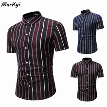 MarKyi plus size striped formal casual shirt top good quality chemise homme camisa masculina striped drop shoulder formal shirt