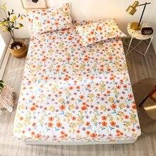 Bonenjoy conjunto de lençol de borracha com 3 peças, conjunto de lençol de tamanho queen com fronha, flor reativa e estampada