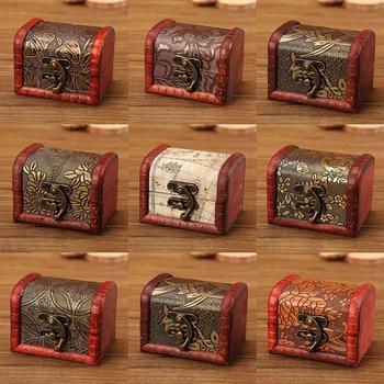 Jewelry Storage Box Vintage Wooden Jewelry Carved Flower Pattern Storage Box Treasure Chest Storage Box For Jewelry Memorial european royal retro wood jewelry organizer handmade flower pattern printing jewelry storage box treasure case with lock jewelry