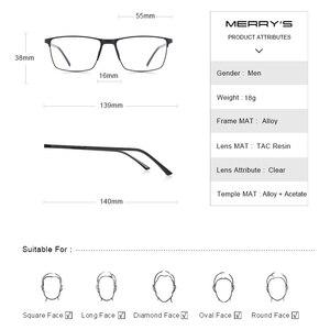 Image 4 - MERRYS lunettes de Prescription en titane pour hommes, montures complètes, verres optiques carrées pour myopie, Style Business, S2170PG
