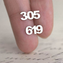 Personalized Old English Numbers Stud Earrings Women Custom Jewelry Area Code Pendientes Mujer Moda Save The Date Earring Gift