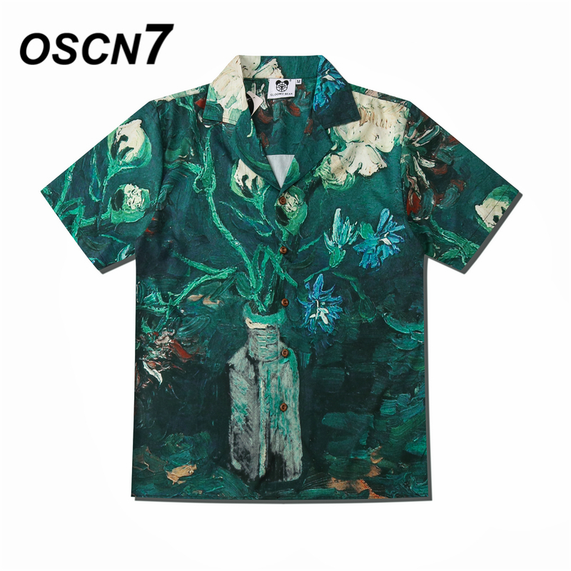 OSCN7 Casual Printed Short Sleeve Shirt Men Street 2020 Hawaii Beach Oversize Women Fashion Harujuku Shirts for Men CSD33